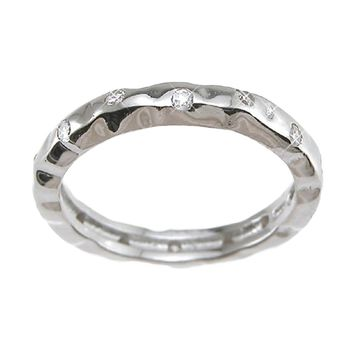 Plutus Brands 925 Sterling Silver Rhodium Finish CZ Brilliant Fashion Wedding Band 0.1 Carat Weight- Size 5