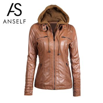 Anself Fashion Black Winter Pu Leather Jacket Women Long Sleeve Hooded Motorcycle Jacket Ladies Zipper Coat Outerwear S-7XL