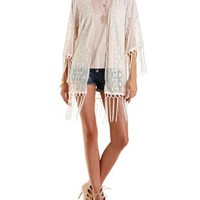 Ivory Embroidered Mesh Fringe Kimono by Charlotte Russe