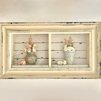 Shabby Chic Shadow box wall decor,Rustic distressed  Wood Box- dried flowers-cream, yellow beige