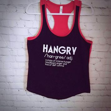 Women's Definition of Hangry Red & Black Color Blocked Racerback Tank Top