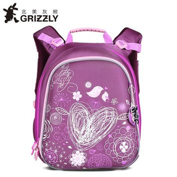 School Backpack GRIZZLY Children School Bags For Girls Book Bag Cartoon Geometric Flower Pattern Waterproof Orthopedic Backpacks Mochila Escolar AT_48_3
