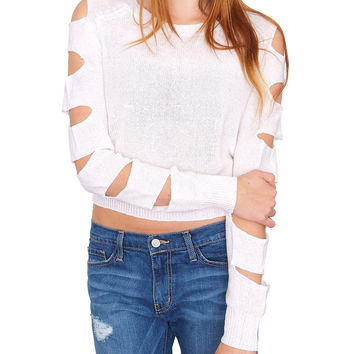 Deadline Sweater Top - White