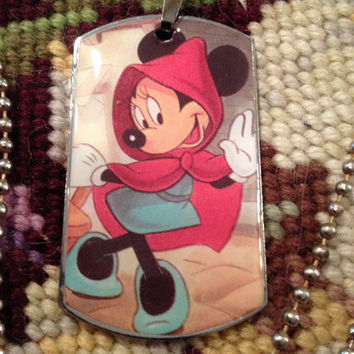 Disney's Minnie Mouse as Little Red Riding Hood Dog Tag Necklace