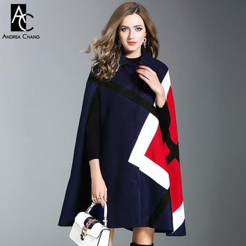 autumn winter woman cloak style wool coat green dark blue cloak cape red geometric pattern fashion office lady wool cloak coat