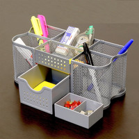 Silver Office Computer Desk Supplies Pen Pencil Holder Organizer Caddy