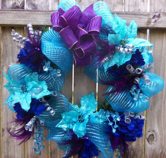 Bright Purple Turquoise Deco Mesh from 3Mimis | Wreath