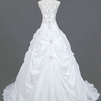 A-line Strapless Cathedral T rain Taffeta  Wedding Dresses With Embroidery Beading Free Shipping