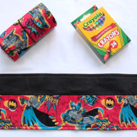 Crayon Roll SuperHero, Batman, Crayon Holder, Birthday Party Favor, 16 Crayola Crayons Included