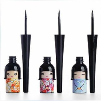 Cosmetic Waterproof Liquid Eyeliner Pen Makeup in Cute Dool Bottle Women Beauty Care Eye Liner MK0176