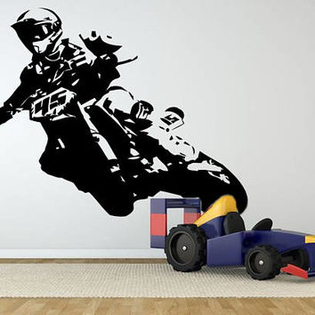 Motocross Wall Decal, Dirt Bike Wall Sticker, Motorsport Enduro Bike Wall Mural Decor, Motorcycle Racing Room Decoration Kids Bedroom se167