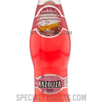 Kazouza Strawberry Melon Sparkling Fruit Drink 9oz Glass Bottle
