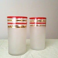 Vintage Red and Gold Striped Frosted Tumbler Glasses by inmyigloo