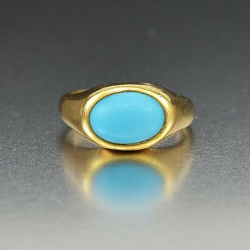 Persian Turquoise 14K Gold Antique Victorian Signet Ring