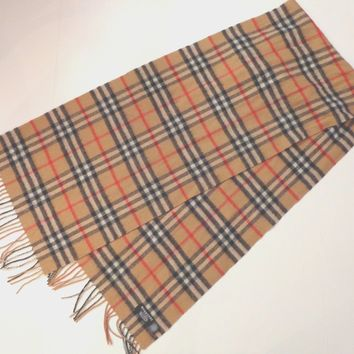 Burberry of London Nova Check print 100% cashmere scarf 64 inches total length