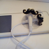 Little Black Mustache Earbuds