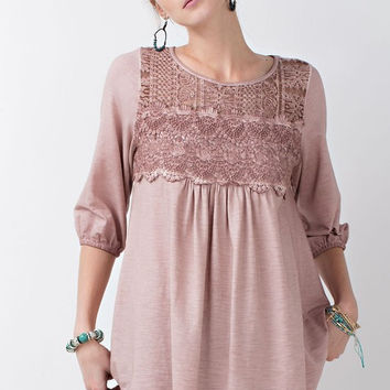 Oil Washed Lace & Crochet Tunic - Mauve