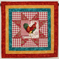 Quilted Wall Hanging - Rooster Wall Hanging Wall Quilt - French Country wall hanging - French Market Quilted Rooster Table Topper