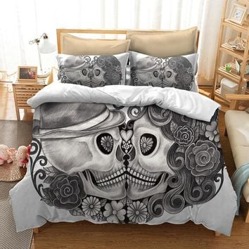 Skull Bedding Set 3D sugar skull duvet cover with pillowcase