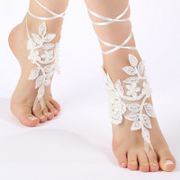 Free Ship white, black, ivory, ankle sandals,  laceBarefoot Sandals, french lace, Beach wedding barefoot sandals
