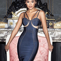 Lawalla Grey Bandage Dress with nude mesh out panels