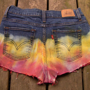 Highwaisted, Distressed, Tie-dyed Jean Shorts(2090)