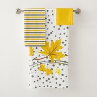 Maple leaves yellow and gray bathroom towel set