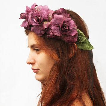 Lavender Rose Crown - Mauve Purple Rose Flower Crown, Rose Headband, Velvet Rose Headdress. Bridal Crown, Fairy Crown, High Fashion