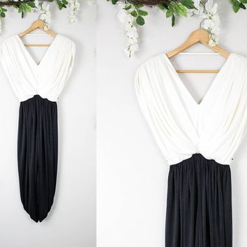 Vintage Black And White Evening Dress