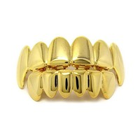 Hot Sale Gold Male Women Hip Hop Teeth Grillz Caps Top & Bottom Grills Set Iced Out CZ Silicone For Superstar Vampire Teeth