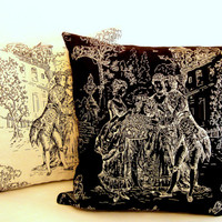OPPOSITES black and white – FRENCH toile de Jouy pillow20x20