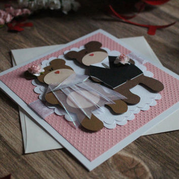 Handmade 3D Teddy Bear Mr.  Mrs. - Bride & Groom Card Postcard Wedding Beautiful Funny - Wedding Couple Card - Bride and Groom - Newlyweds