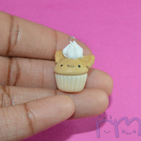 Kitty Cat Cupcake Charm, Polymer Clay Cat Cupcake Charm, Kitty Cupcake, Vanilla Cupcake Charm, Glow in the Dark Charm
