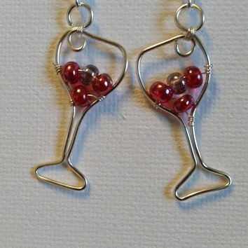 Bubbly wine glass earrings