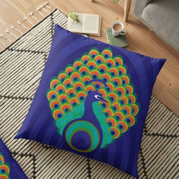 'Peacock - stylized bird on deep blue background' Floor Pillow by VrijFormaat
