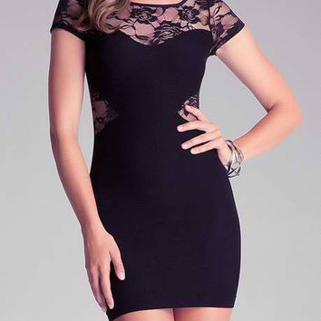 Black Floral Lace Short Sleeve Bodycon Dress