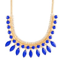 Blue Shiny Stone Round and Marquis Dangle Statement Necklace