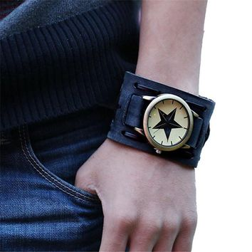 Cool Bold Leather Band - with Classic Quartz Watch Built In