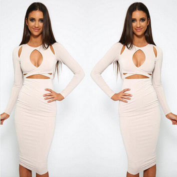 2016 Spring New Arrivals Hot European and American urban fashion Slim solid comfort exposed belly sexy round neck dress