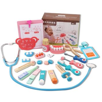 20PCS/Set Wooden Toys Funny Pretend Play Real Life Cosplay Doctor Game Toy Dentist Medicine Box Pretend Doctor Play For Children