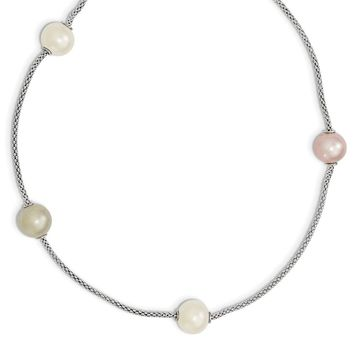 Sterling Silver Freshwater Cultured Pearl Multi-strand w/2in ext. Necklace