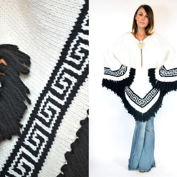 bohemian TRIBAL SCROLL southwestern native fringed PONCHO cape coat, one size fits most