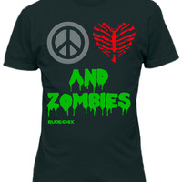 "Women's ""Peace, Love And Zombies"" Fitted Tee by Rudechix (Black)"
