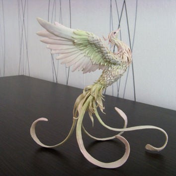 Phoenix bird - original handmade OOAK, Statuette Fire bird Figurine Statue Figure Fantasy Bird Skulpture white green Creature