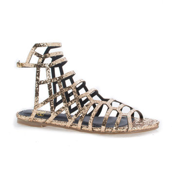 CiciML Gold Glitter by Liliana, Gold Glitter Open Toe Honeycomb Caged Ankle Flat Sandals