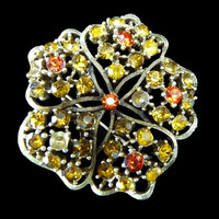 Vintage Yellow & Orange Glass Rhinestones Flower Pin Brooch Mid Century
