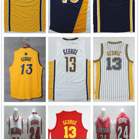 New Jersey Paul Dark Blue Yellow Hickory Red #13 Paul George Jersey Throwback Paul George Basketball Jerseys Accept Mix Orders