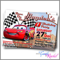 lightning mcqueen Cars Movie  - Invitation Card Design For Birthday Party Kid