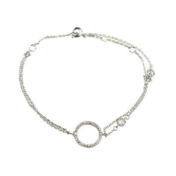 Kiele CZ Circle Charm Link Layered Silver Bracelet  - 7in