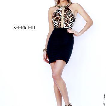 Sherri Hill 32119 Halter Top Leopard Prom Dress